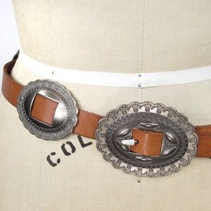 Vintage Genuine Leather Concho Belt Sz M